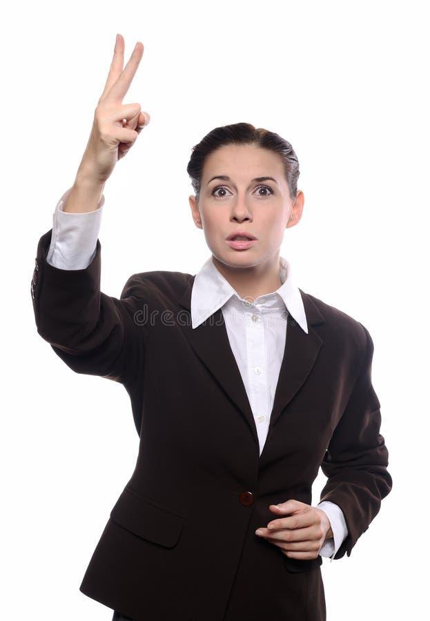 Het bedrijfs vrouw bieden stock foto's