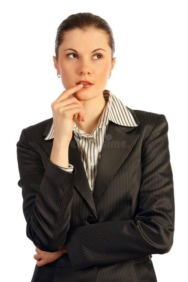 Het bedrijfs vrouw denken. Geïsoleerdd op wit. stock afbeelding