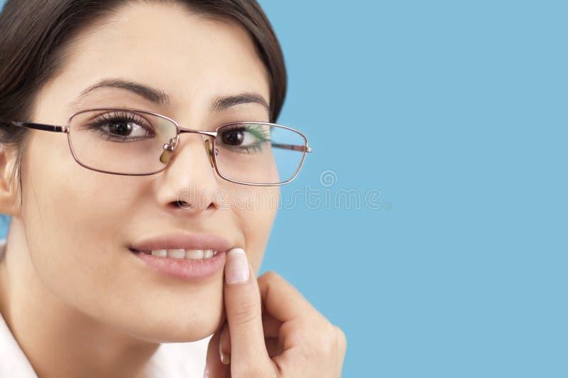 Het bedrijfs vrouw glimlachen royalty-vrije stock afbeelding