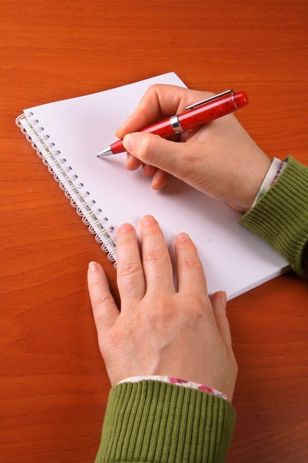 Het bedrijfs vrouw schrijven stock fotografie