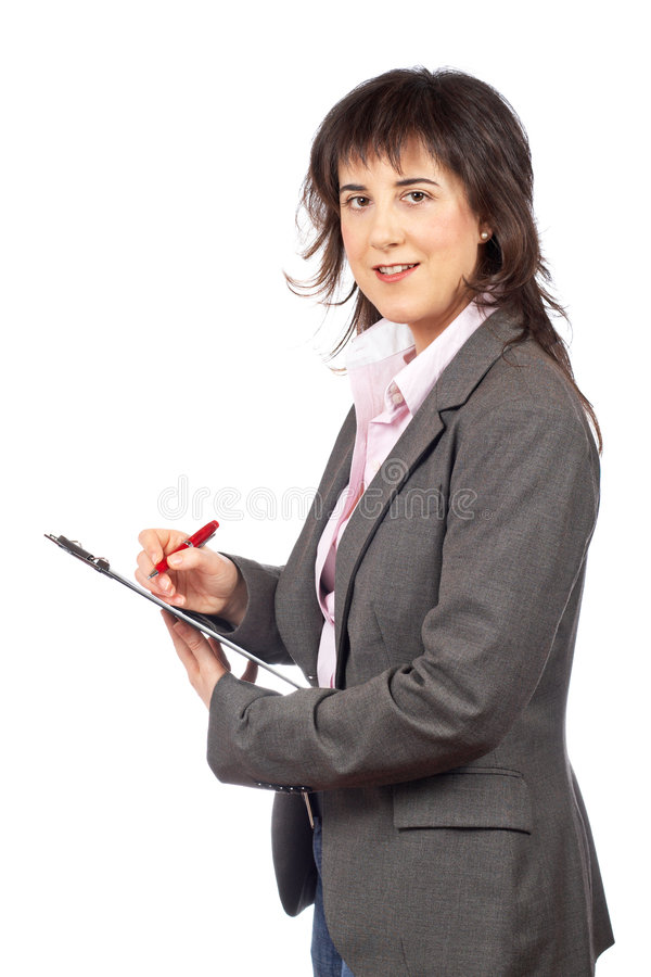 Het bedrijfs vrouw schrijven stock afbeelding