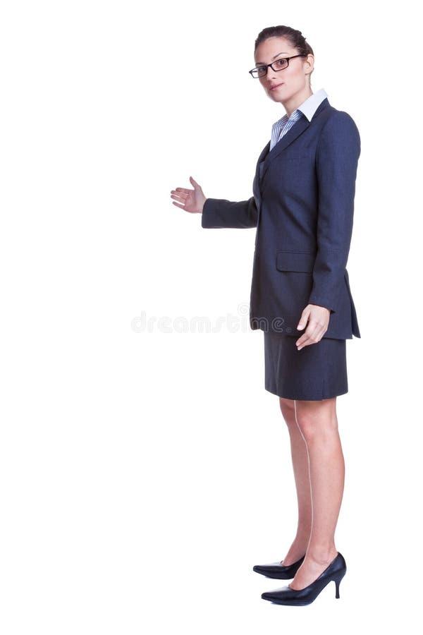 Het bedrijfs vrouw welkom heten gebaar stock afbeelding