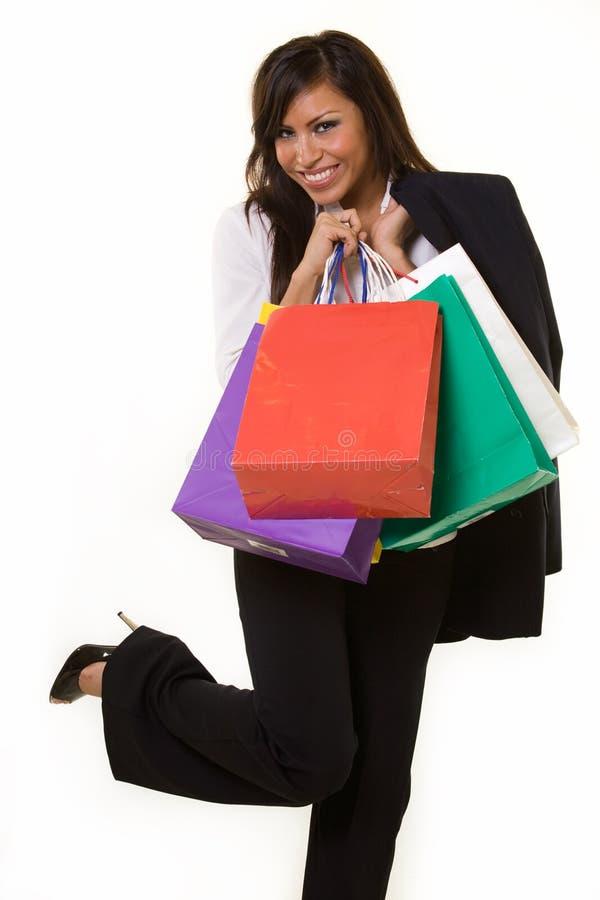 Het bedrijfs vrouw winkelen stock afbeelding