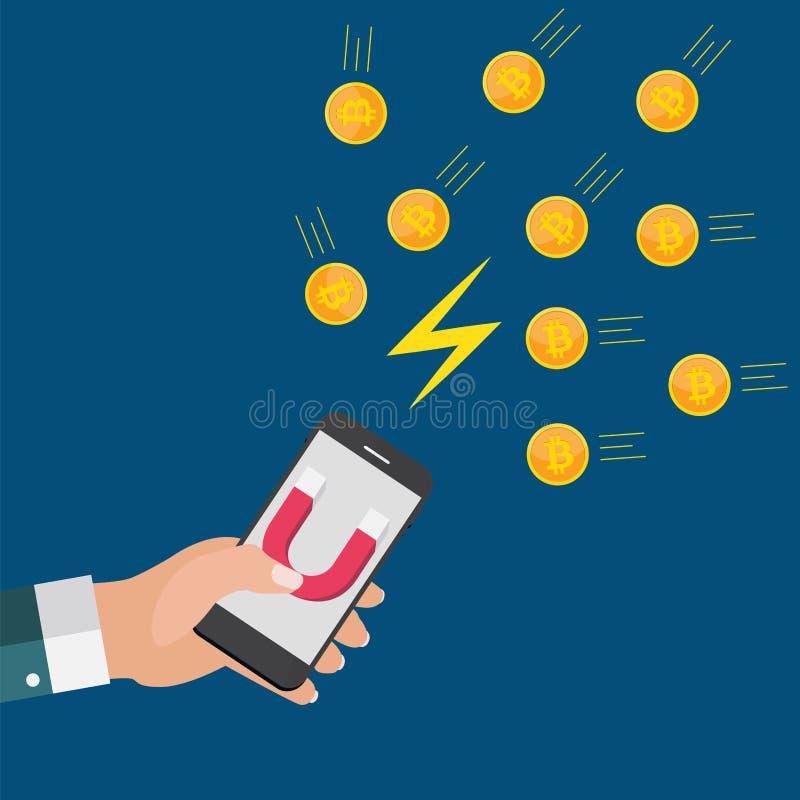 Het bedrijfsconcept de mobiele telefoon van de handgreep met magneet trekt bitcoins aan Vector illustratie vector illustratie