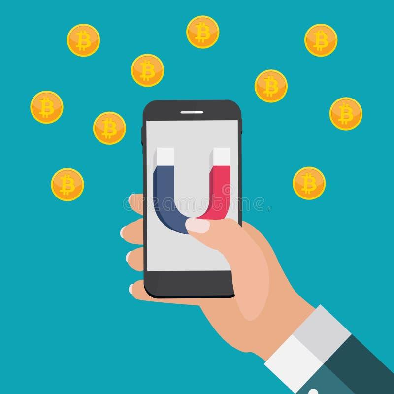 Het bedrijfsconcept de mobiele telefoon van de handgreep met magneet trekt bitcoins aan Vector illustratie royalty-vrije illustratie