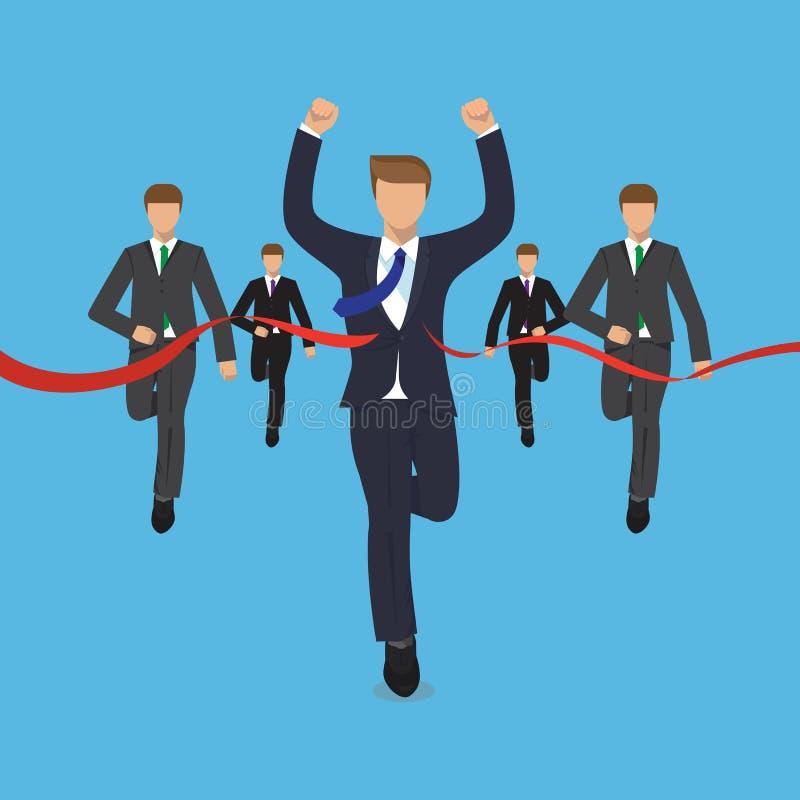 Het bedrijfsconcept, mens loopt victoriously voor zijn rivalen vector illustratie