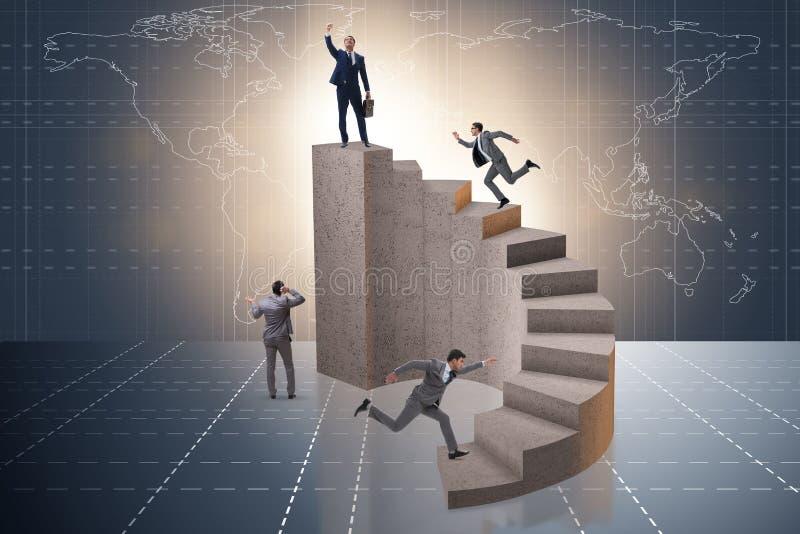 Het bedrijfsconcept met bedrijfsmensen op trap royalty-vrije illustratie