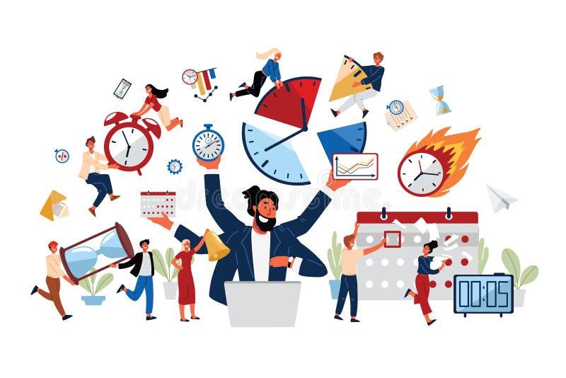 Het bedrijfsconcept Tijdbeheer, Productiviteit, organiseert zich stock illustratie