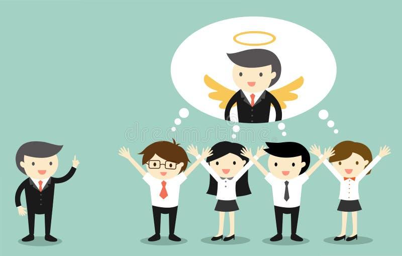 Het bedrijfsconcept, Werkgever geeft compliment aan bedrijfsmensen en zij denken dat de werkgever een engel is royalty-vrije illustratie