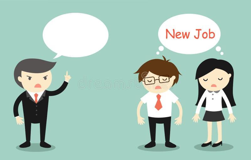 Het bedrijfsconcept, Werkgever het spreken en de werknemers willen nieuwe baan vinden stock illustratie