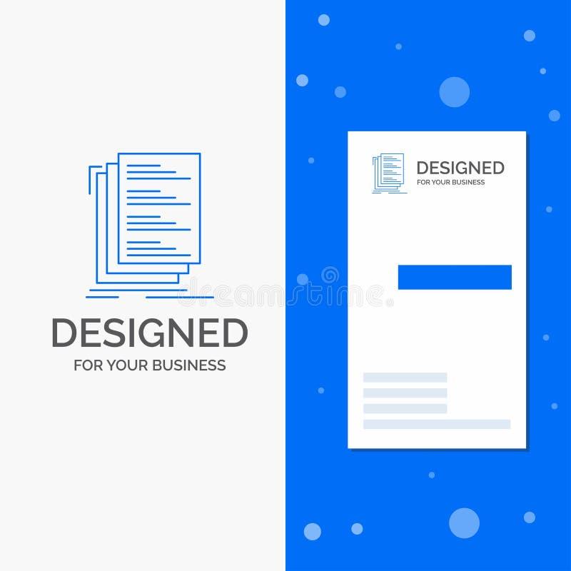 Het bedrijfsembleem voor Code, codage, compileert, dossiers, een lijst maakt van Verticaal Blauw Bedrijfs/Visitekaartjemalplaatje stock illustratie