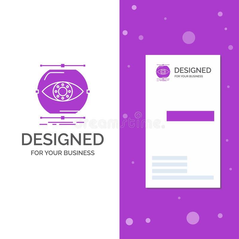 Het bedrijfsembleem voor visualiseert, conceptie, controle, controle, visie Verticaal Purper Bedrijfs/Visitekaartjemalplaatje vector illustratie