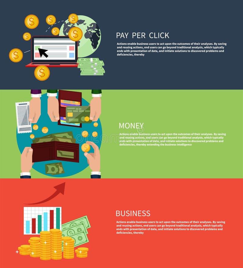 Het bedrijfsgeld en betaalt per klik vector illustratie