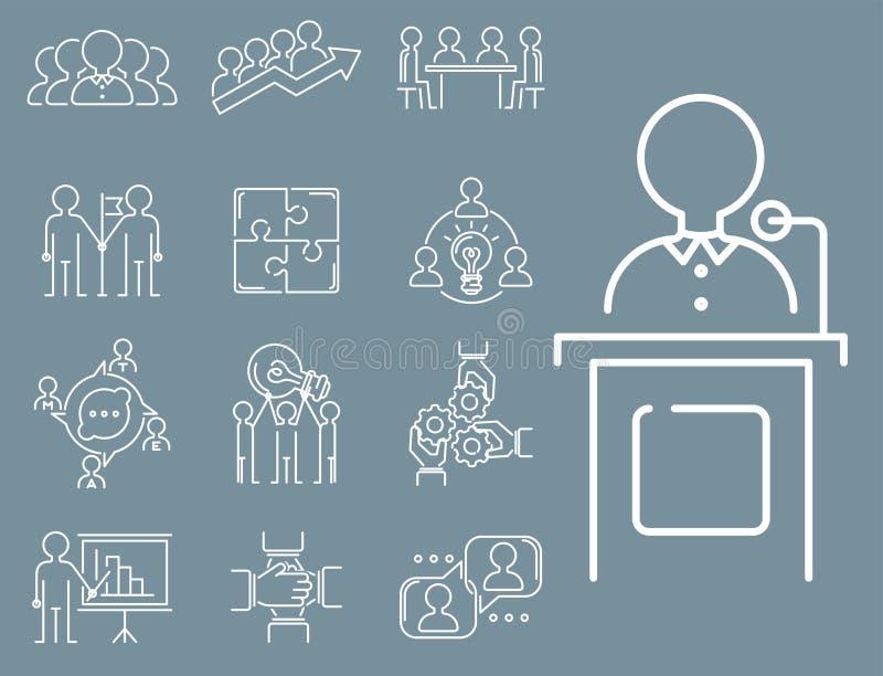 Het bedrijfsgroepswerk die dunne lijnpictogrammen teambuilding werkt van het het overzichtspersoneel van het bevelbeheer het conc vector illustratie