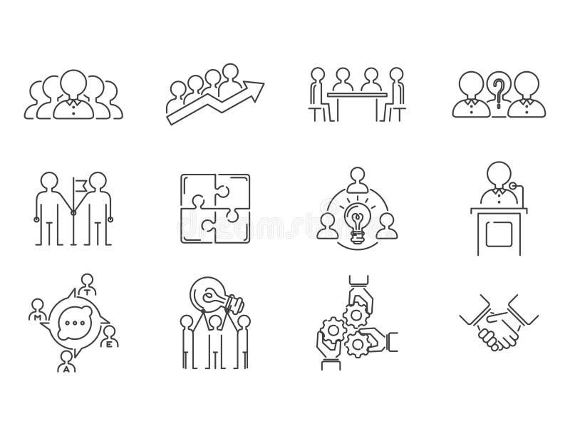 Het bedrijfsgroepswerk die dunne lijnpictogrammen teambuilding werkt van het het overzichtspersoneel van het bevelbeheer het conc royalty-vrije illustratie