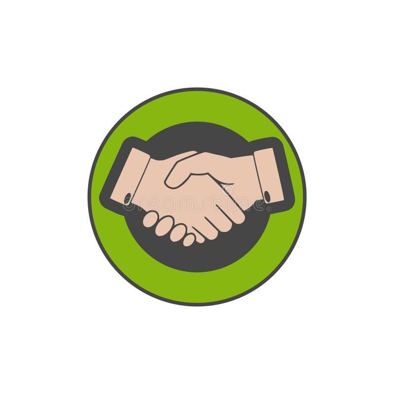 Het bedrijfshanddrukembleem, twee handen maakt een overeenkomst stock illustratie