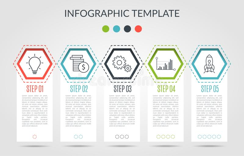 Het bedrijfsinfographicsmalplaatje het concept is hxagon optiestap met pictogram Kan voor diagram infograph grafiek worden gebrui stock illustratie