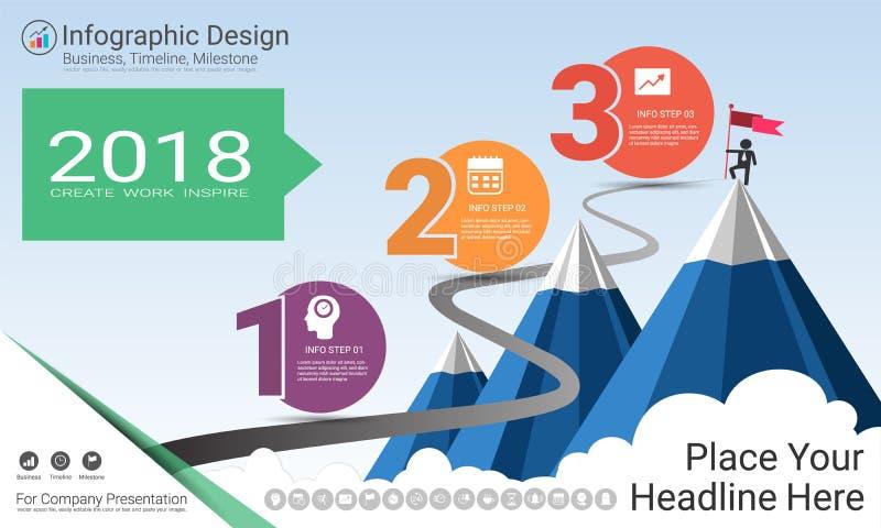 Het bedrijfsinfographicsmalplaatje, de Mijlpaalchronologie of de wegenkaart met Proces stellen 3 opties in een organigram voor vector illustratie