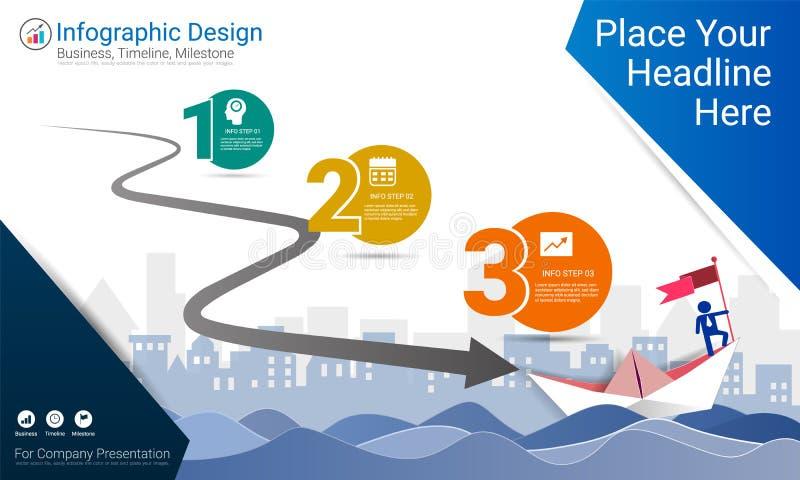 Het bedrijfsinfographicsmalplaatje, de Mijlpaalchronologie of de wegenkaart met Proces stellen 3 opties in een organigram voor stock illustratie