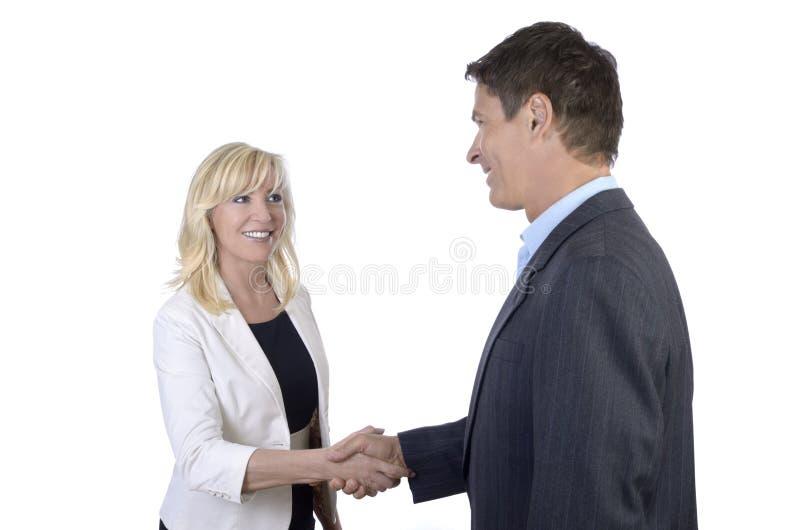 Het bedrijfsman en vrouwen schudden handen royalty-vrije stock afbeelding