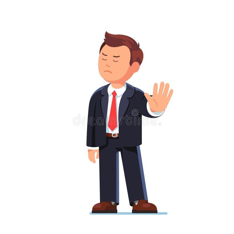 Het bedrijfsmens chef- verwerpen met het gebaar van de eindehand vector illustratie