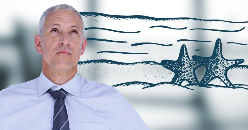 Het bedrijfsmens denken aan strand tegen onscherp grijs venster royalty-vrije stock foto's