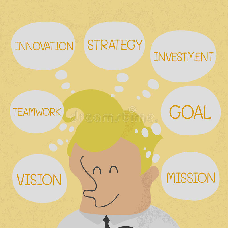 Het bedrijfsmens denken businessplan aan succes royalty-vrije illustratie