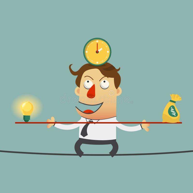 Het bedrijfsmens in evenwicht brengen op de draad met ideeëngeld en tijd Het karakter van het beeldverhaal royalty-vrije illustratie