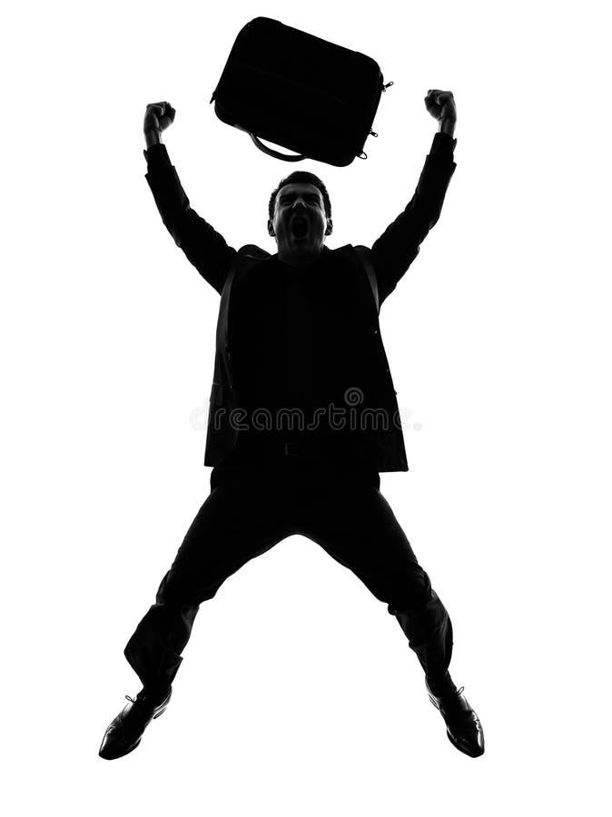 Het bedrijfsmens gelukkig blij springen silhouet royalty-vrije stock afbeeldingen