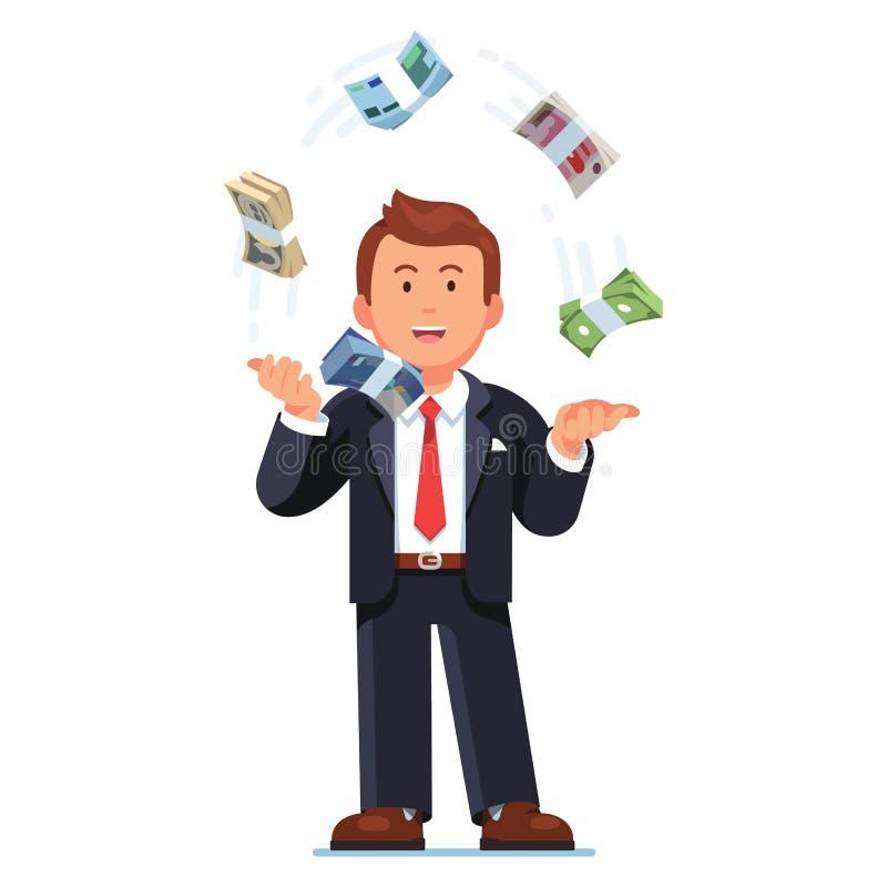 Het bedrijfsmens jongleren met de munten van de wereldreserve vector illustratie