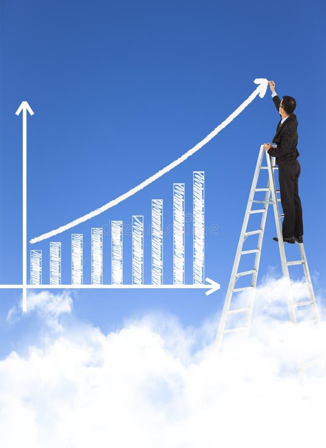 Het bedrijfsmens schrijven de groeigrafiek stock foto's