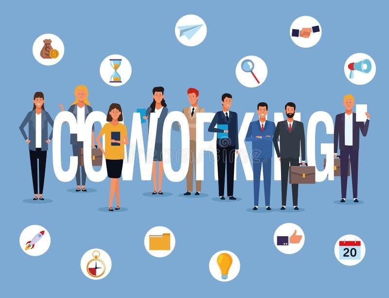 Het bedrijfsmensen coworking vector illustratie