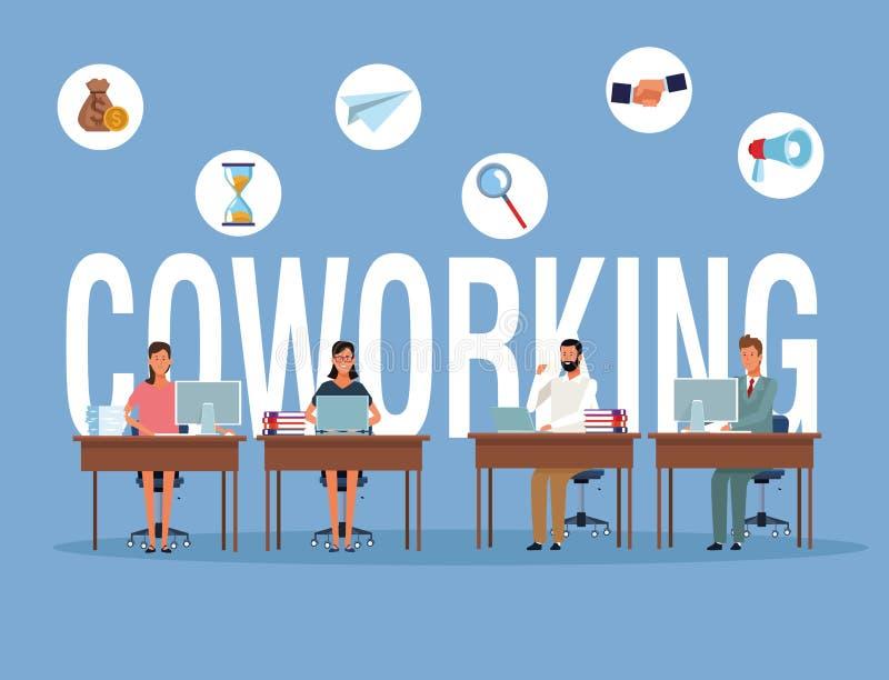 Het bedrijfsmensen coworking royalty-vrije illustratie