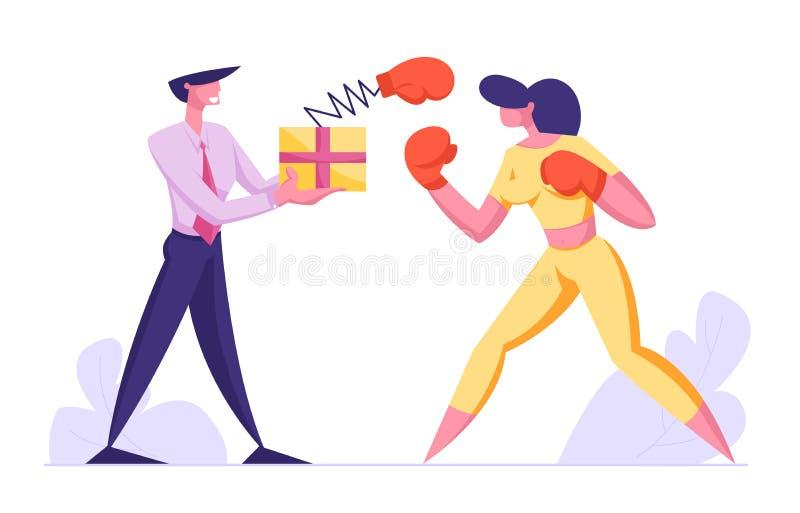 Het bedrijfsmensen in dozen doen Vrouw het Vechten met Man Holdingsdoos met Pop Omhooggaande Handschoen op de Lente, Manager Char royalty-vrije illustratie