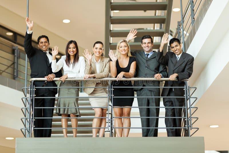 Het bedrijfsmensen golven stock foto