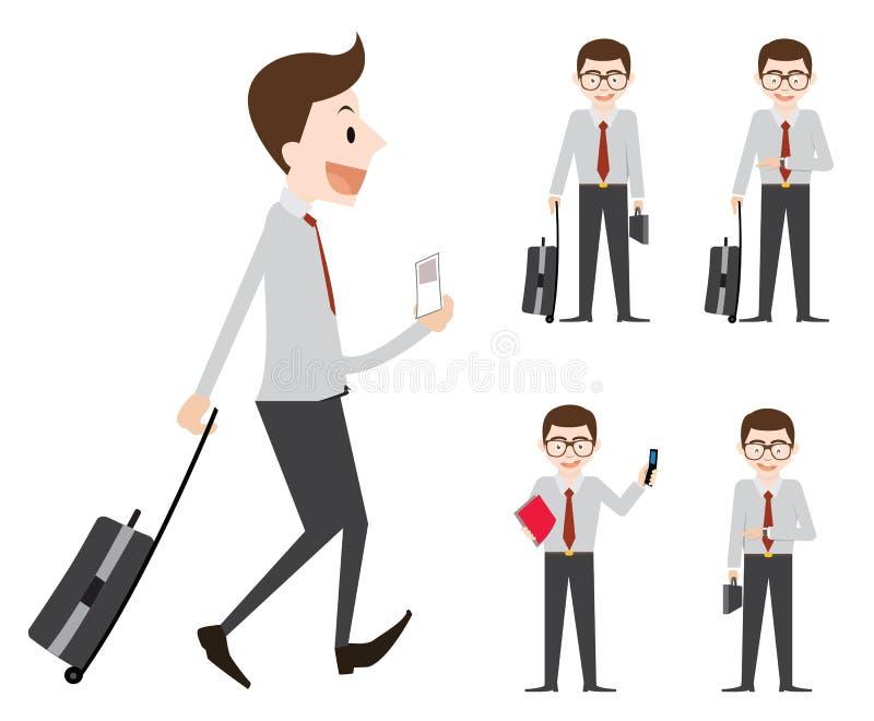 Het bedrijfsmensenwerk en gaat naar zakenreis royalty-vrije illustratie
