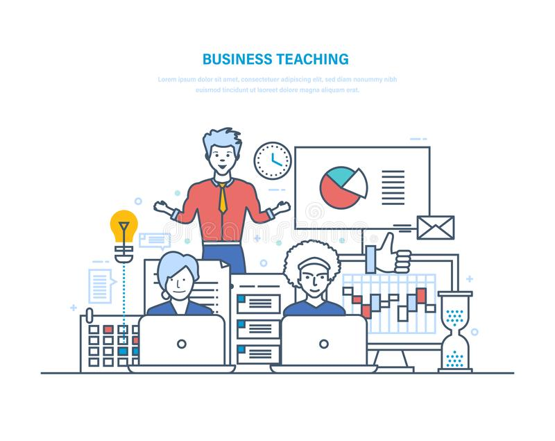 Het bedrijfsonderwijs Professionele bedrijfs opleiding, seminaries, collectieve opleiding, het raadplegen stock illustratie