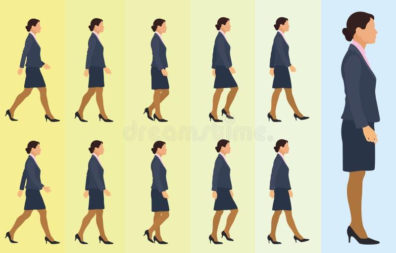 Het bedrijfsvrouw Lopen Cyclus vector illustratie