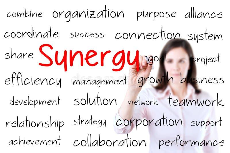 Het bedrijfsvrouw schrijven synergismeconcept Geïsoleerd4 o royalty-vrije stock afbeeldingen
