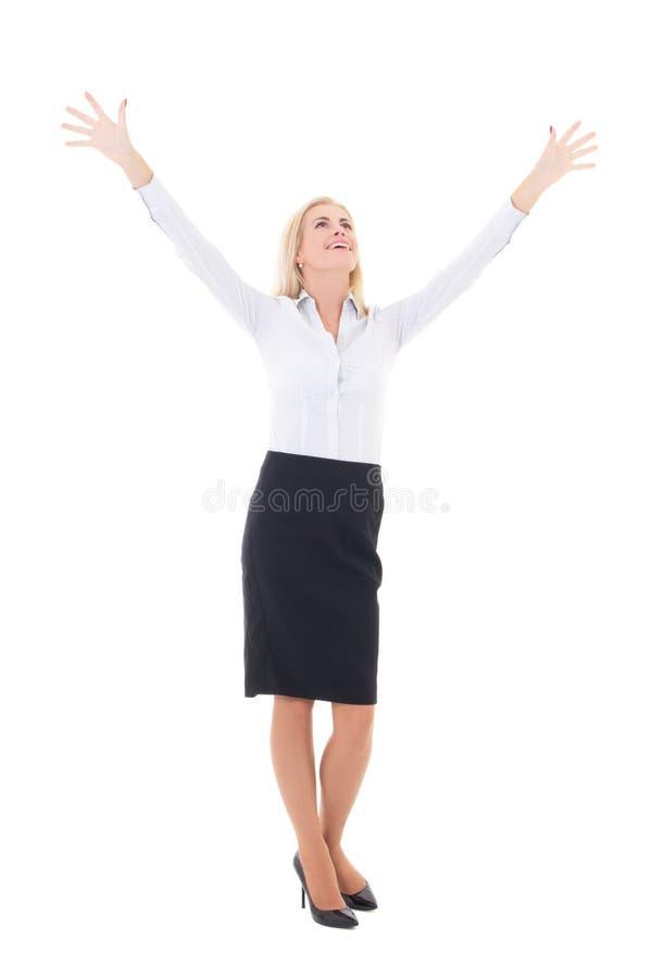 Het bedrijfsvrouw vieren succes volledige die lengte op wit wordt geïsoleerd stock foto