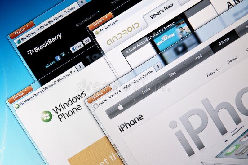 Het bedrijfwebsites van Smartphone royalty-vrije stock fotografie