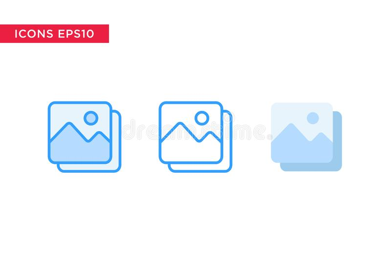 Het beeld, beeldpictogram in lijn, overzicht, vulde overzicht en vlakke die ontwerpstijl op witte achtergrond wordt geïsoleerd Ve vector illustratie