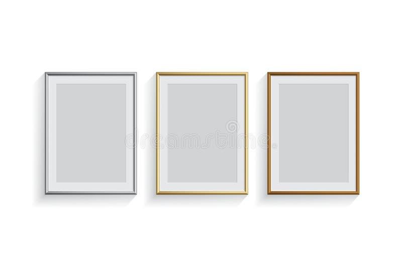 Het beeld of de fotokaders van het rechthoek plaatsen de zilveren, gouden en brons op witte achtergrond geïsoleerd Vector ontwerp vector illustratie