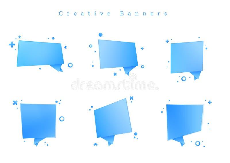 Het beeld is een vectordossier die Reeks geometrische de Bannerlinten van Etikettenstickers vertegenwoordigen royalty-vrije illustratie