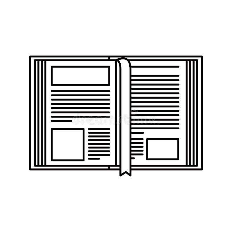 Het beeld open boek van het schetssilhouet met referentie royalty-vrije illustratie