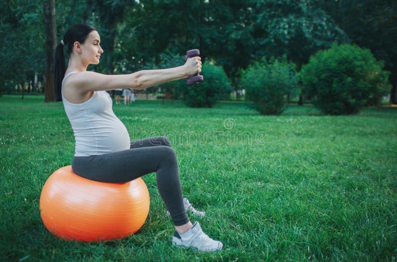 Het beeld van aardige jonge zwangere vrouw zit op oranje geschiktheidsbal in groen park Zij oefent met dumbells uit Model kijk stock fotografie