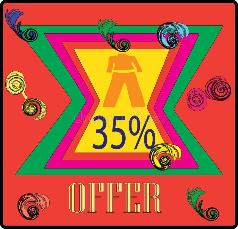 HET BEELD VAN DE DE AANBIEDINGScolorfull MARKERING VAN CLOCTING 35% stock illustratie