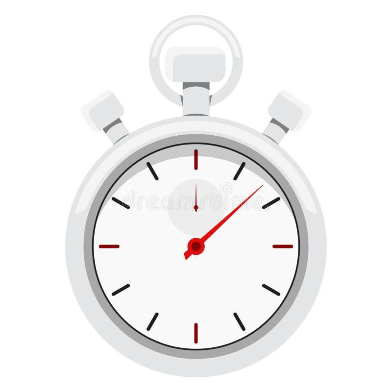 Het beeld van de beeldverhaalstijl van een de sportenchronometer van het chroommetaal met rode pijl royalty-vrije illustratie