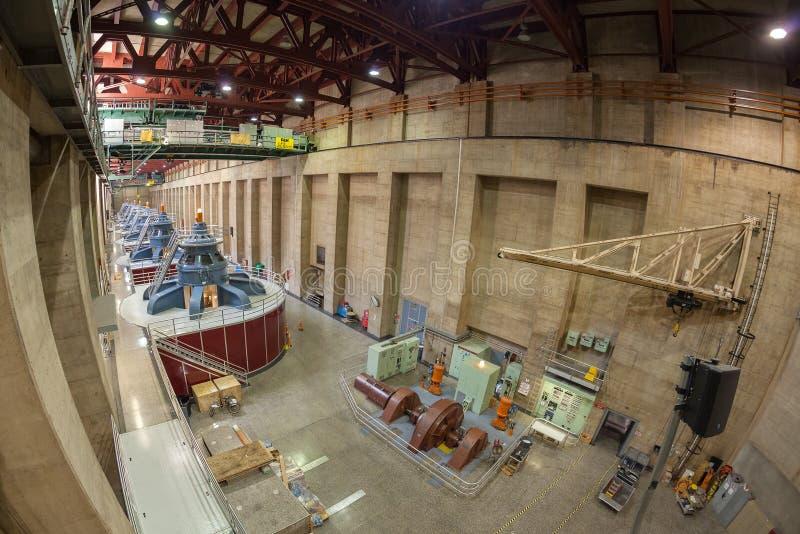 Het beeld van de Fisheyelens van Hoover-Dambinnenland met generators royalty-vrije stock fotografie