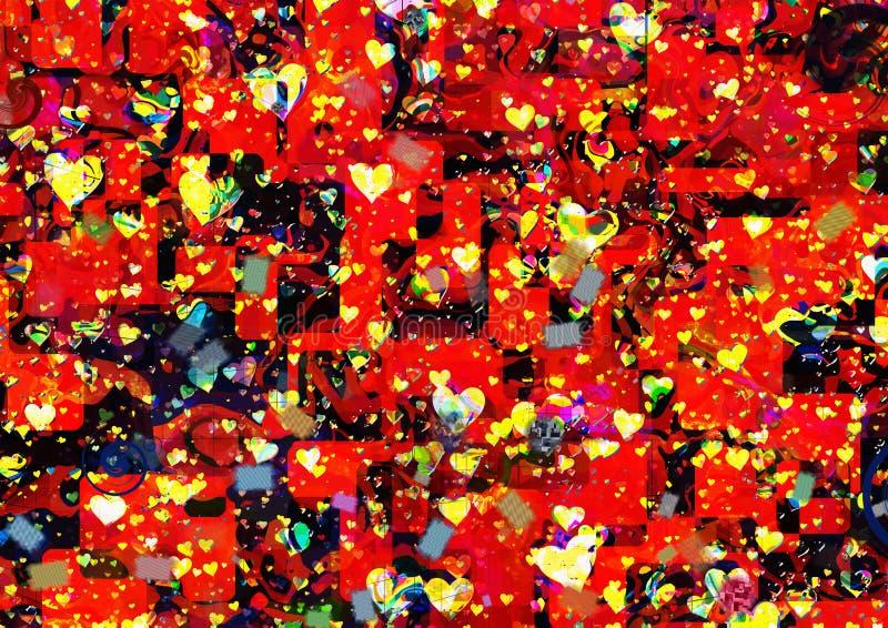Het beeld van de graffitistijl van vele harten vector illustratie